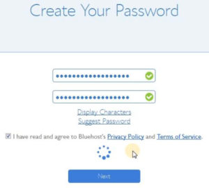 bluehost account pasword