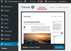 wordpress theme installed