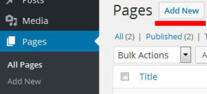 wordpress add new page