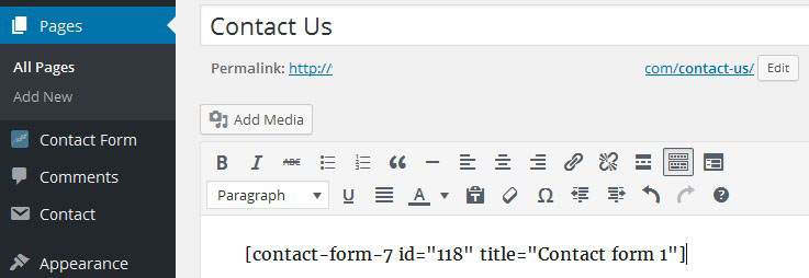 wordpress configure contact us page