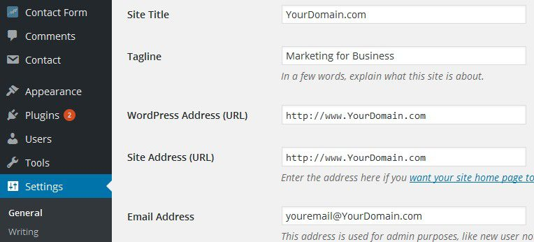 wordpress settings sitetitle tagline url